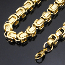 AMUMIU 8mm Gold Chain Huge & Heavy Long Byzanine Greek Key 316L Stainless Steel Men's Chain Necklace Link Wholesale KN070(China)