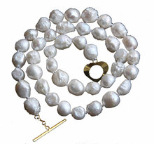 "JQHS natural bleb Baroque 17"" 10mm white Reborn keshi pearls necklace j10591(China)"