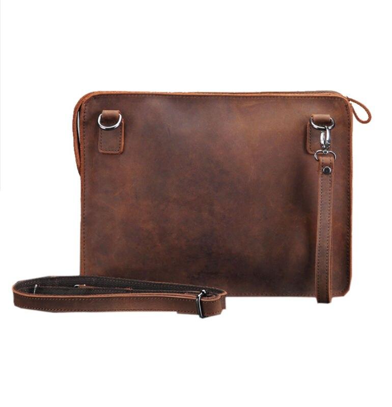New Mens Crazy Horse Genuine Leather Messenger Shoulder Pack Documents Business Portable Clutch Bag Portable Wrist Bag<br>