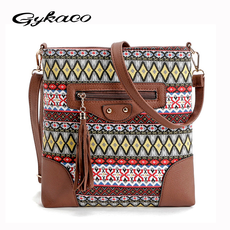 Bohemian style canvas bag women messenger bags lady small vintage national crossbody shoulder bag bolsa feminina sac main