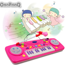 25Keys Music Electronic Keyboard Functional Recording Piano+Microphone Infant Playing Toys Musical Instrument for Kids
