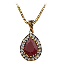 From Indian Love Stone2016 New Vintage Necklace Women Fashion Style Necklaces & Pendants Cheap Wedding Necklace(China)