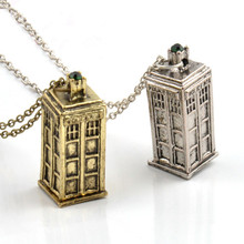 Vintage Jewelry Doctor Who 3D Antique Silver/Bronze Tardis Police Box Pewter Tall Long Chain Pendant Necklace For Men And Women(China)