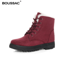 41 42 43 44 Size Lace up Fur Warm Winter Boots Women Suede Leather Ankle Boots Round Toe Women Boots SWE0028