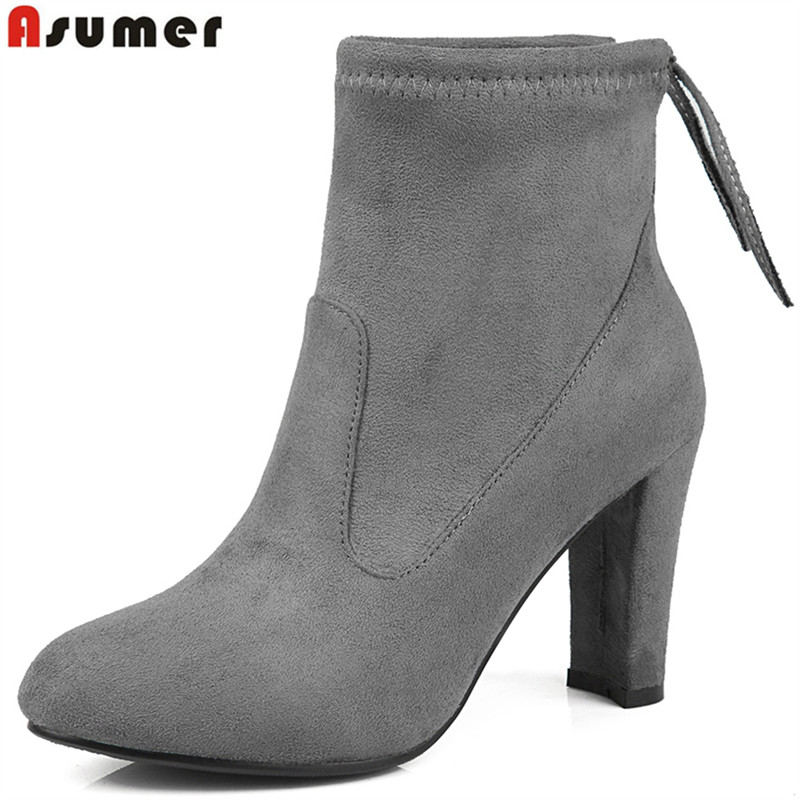 ASUMER Plus size 34-43 Botines Female winter boots for women ankle boots high heels suede boots botas mujer femininas shoes<br>