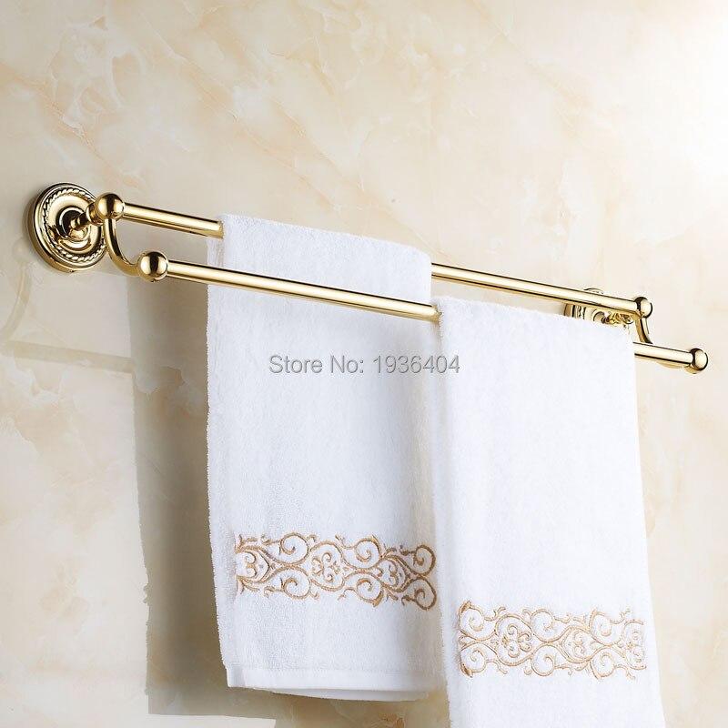 Double Gold Towel Bar Romantic Antique Brass Bathroom Towel Racks Wall Mounted Towel Shelf TR1005<br><br>Aliexpress