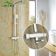 Contempoarary Bathroom 8 Inch Rainfall Shower Set Chrome Polish Shower Units Thermostatic Bath Faucets