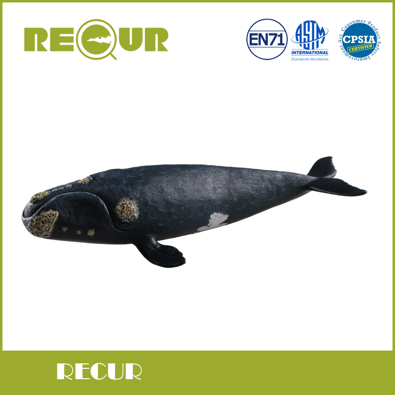 Recur Toys Original Design North Pacific Right Whale Sea Life High Simulation Model PVC+PP Cotton Toy Animal Figures Soft Toys<br>