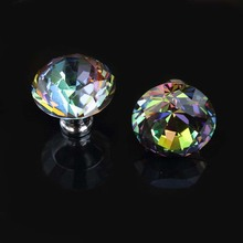 diameter 40mm colorful diamond head wardrobe wine cabinet handles knobs silver clour glass crystal drawer cabinet knobs pulls(China)