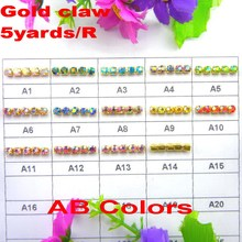 5yards/Roll High density Gold base AB colors ss6 2mm SS8 2.5mm SS10 2.8mm SS12 3mm rhinestone cup chain Sew On glue on trim
