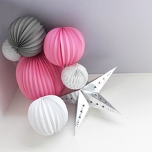 Sunbeauty 7pcs/set 19+32cm Pleated Paper Lanterns,Honeycomb Balls,Silver Star Party Decorations Background Hanging Decor