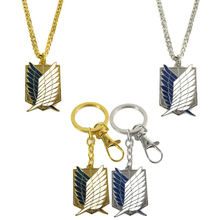 Anime Attack on Titan Wings of Liberty Metal figures toys Keychain Pendant Shingeki no Kyojin Survey Corps Cosplay Necklace