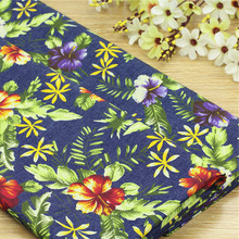 50*145cm Thin cotton denim fabric printing flower cotton fabric DIY cotton shirt dress making cotton fabric