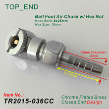 8x25mm Hose Barb,Ball Foot Air Chuck w/ Hex Nut,Closed End Design,Chrome Plated Brass,Tire/Tyre Inflator Gauge Fitting(China)