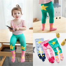 2017 Children Tights Bottoming Pantyhose baby 's stocking Girls Cute Cartoon Five Pointed Star Love Boy Anti-skid Tights