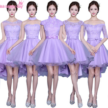 elegant party dresses sexy high neck short front for long back high low Lavender bridesmaid dress the girls made in china H3869