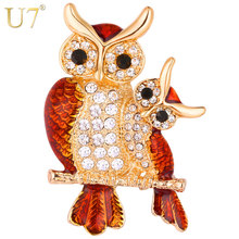 U7 Owl Brooches Women Costume Jewelry Party Bridesmaid Gift for Her Beautiful Cute Rhinestone Brooch Lapel Pin 2017 New B128(China)