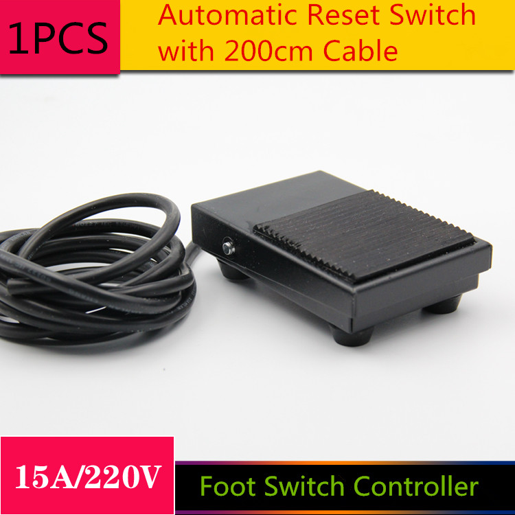 1PCS/LOT  YT1034 Foot Switch Controller  The Power Switch  Automatic Reset Switch  with 200cm Cable  15A/220V<br><br>Aliexpress
