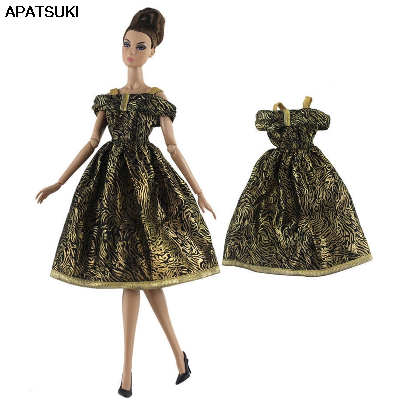 """White Gold Party Dress For 11.5/"""" Doll Outfits Princess Gown 1//6 Doll Clothes Toy"""