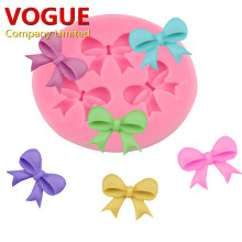 3-Hole Bow Bowknot Design Modeling Cake Decoration Fondant Chocolate Pudding Silicone Mold N2863