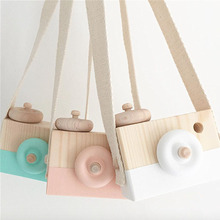1pc Wooden Camera Cam Toy With Strap for Children Kids Travel Home Photograph Tools Photo Studio Props 9x6x5cm