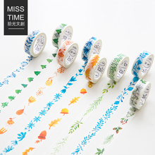15mm*7m Nature Leaves and Plants Japanese Deco Washi Tape Cute Paper Masking Tape DIY Post It Scrapbooking Sticker