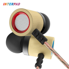 2017 Cheapest Original Interpad In Ear Earphones HIFI Bamboo Earphone Super Bass Headset With Mic For Computer Meizu Oppo Phone