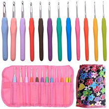 Crochet Hooks Set 12pcs Ergonomic Soft Rubber Grip Handle & Aluminum Knitting Needle in Case-Size 2mm to 8mm DIY Weave Yarn Kit