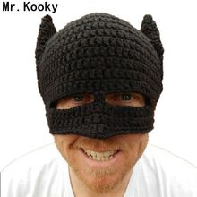 Mr.Kooky Novelty Handmade Winter Beanie Crochet Cool Batman Mask Knitted Hats Helmet EarFlap Mens Womens Caps Party gorros gifts(China)