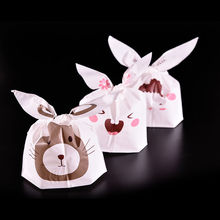 5pcs/lot Snack Cake Gift Packaging Bag for Wedding gift Cute Rabbit Ear Biscuit Bag Moisture Proof Plastic Candy Box Cookie Bags