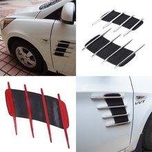 2pcs New Car Hood Side Flow Vent Fender Air Net Door Decals Auto Sticker DIY Simulation car shark gills outlet soft +ABS plated