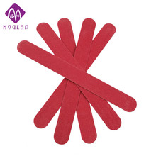 5pcs/lot Wood  RED Nail File & buffer salon Manicure Pedicure double sides Sanding Files Crescent Sandpaper Grit Nail Art tools