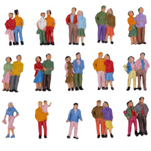 100pcs/Lot ABS Plastic Mini HO Scale 1:87 Mixed Painted Model People Figures Train Park Street Passenger Building Layout People