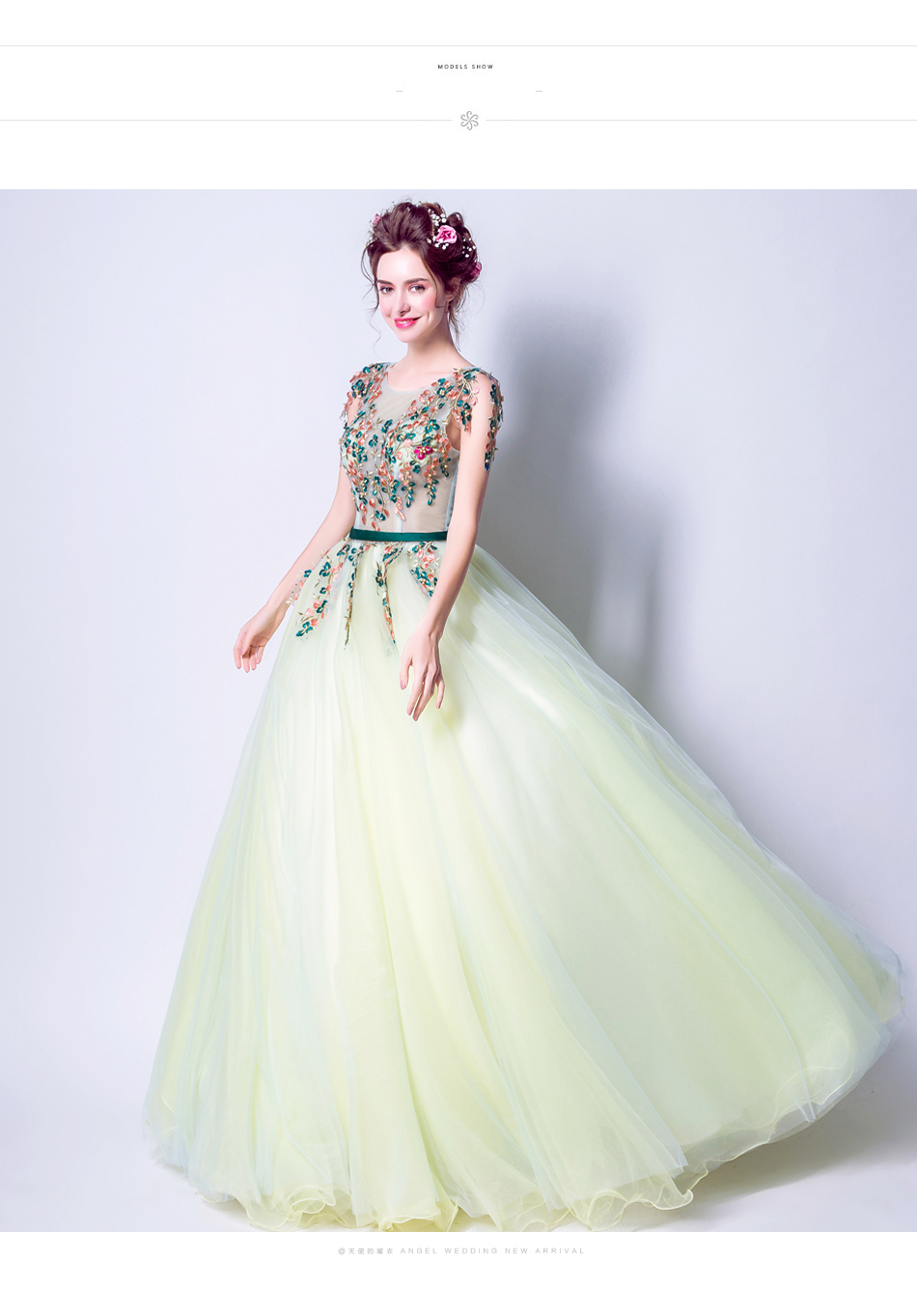 Angel Wedding Dress Marriage Bride Bridal Gown Vestido De Noiva 2017 Green, embroidery, the wizard of Oz 2217 9