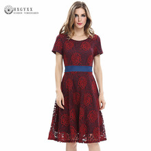 2017 Womens Elegant Sexy Lace Tunic Casual Dress Bow Belt Club Bridesmaid Mother of Bride Dress Skater A-Line Party Dress OKA293