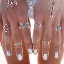 6 Pcs/set New Fashion Bohemian Silver Plated Design 6 Types Natural Moon Shape Nail Rings For Women Jewelry 369025