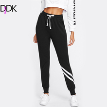 DIDK Drawstring Waist Striped Trim Palazzo Sweatpants Black Mid Waist Patchwork Exercise Long Pants 2017 Women Casual Pants(China)