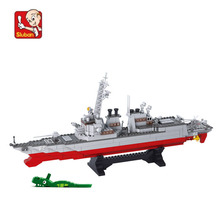 615 pieces baby boy blocks plastic Model Building Kits Destroyer ship bricks toys boy style building Army toys N0390(China)