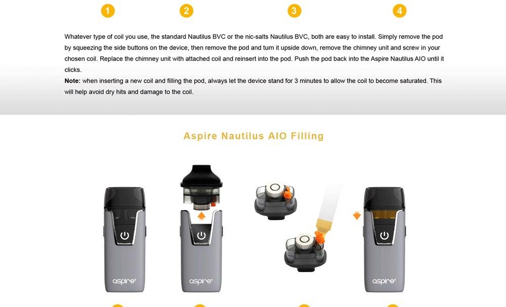 In stock!! Aspire Nautilus AIO kit newest aspire pod system kit with 1000mAh battery 4.5ml capacity pod vape kit vs breeze 2 kit 8
