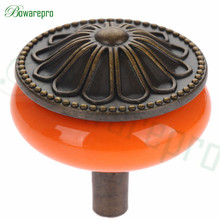 1PCs Locker Vintage Ceramic Metal Retro handle Pull Button Cabinet door cabinet drawer Pull Handle Single Hole Furniture Newest