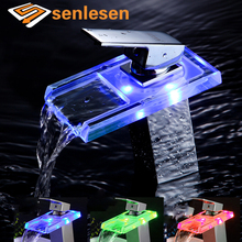 Wholesale And Retail Free Shipping Chrome Brass LED Waterfall Bathroom Basin Faucet Square Body Vanity Sink Mixer Tap(China)