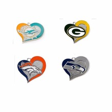 New Arrival 10 pcs a lot Sports Team Miami Dolphins Green Bay Packers Seahawks Denver Broncos Swirl Heart charms(China)