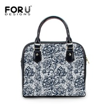 FORUDESIGNS Flower Lace Print Women PU Leather HandBags Ladies Totes Shoulder Bag High Quality Woman Crossbody Bag Girls Satchel