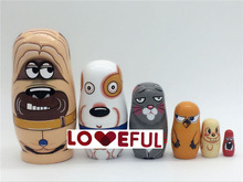 New Quality 6 Pieces Of Small Dog Beautiful Wooden Russian Nesting Dolls for Kids' Gifts Toy ---Loveful