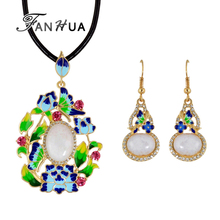Bohemian Jewelry Sets Ethnic Black Chain with Colorful Enamel Opal Flower Butterfly Flower Pendant Necklace and Drop Earrings
