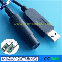 win8 win10 linux pl2303ta usb rs232 adapter cable with mini DIN 8P female