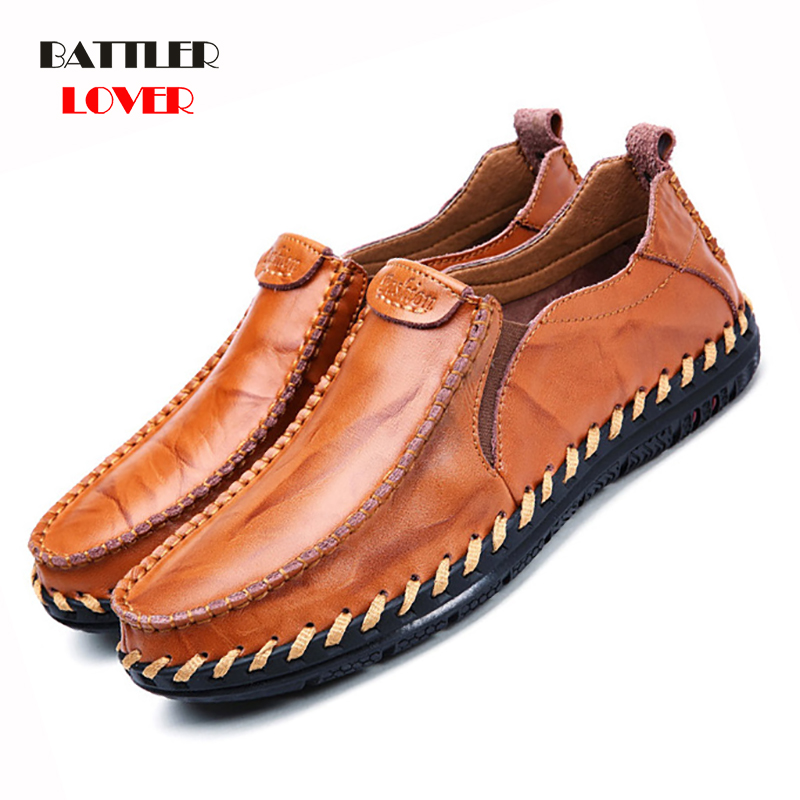 Genuine Leather Mens Moccasin Shoes Black Men Flats Breathable Casual Italian Loafers Comfortable Plus Size 38-45 Driving Shoes