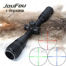 JouFou 3-9x40 AOE Hunting Riflescope Mil Dot RGB Illuminated Tactical Optics Sight Full Size Wire Reticle Rifle Scope with Rings(China)