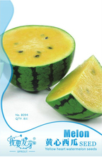 1 Original Pack, 8 seeds / pack, Sweet Yellow Juicy Watermelon, Non-GMO but Heirloom seeds #NF057