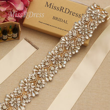 MissRDress Gold Crystal Flower Bridal Belt Big Size Wedding Belt Rhinestone  Bridal Sash For Wedding Long Dresses JK820 c7ce5a1a91ff